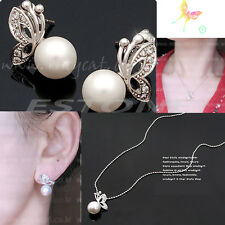 Fashion Lady  Alloy Exquisite Pearl Butterfly Stud Earrings Necklace Jewelry Set