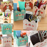 Cute Paper Board Cosmetic Makeup Storage Box DIY Desk Organizer Stationery Case