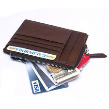 Mens Leather Wallets Slim Credit Card Slots Zipper Coin Purse For Womens