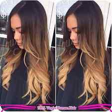 "3 Tone Ombre Body Wavy Brazilian Human Hair Lace Front Wig, 18"" 130% Density"