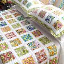 Double Bed Quilt Set White Hand Quilted Bali Floral Cotton Patchwork Bedspread