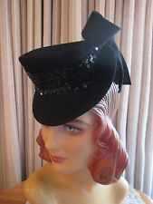GLITZY 40'S BLACK FELT TILT HAT W/ SEQUN BAND & LARGE SIDE FELT BOW