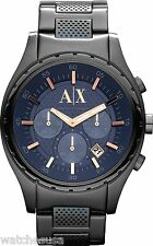 Armani Exchange Gents Black Steel Chronograph Bracelet Watch AX1166
