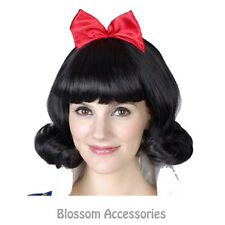 AS120 Snow White Princess Fairytale Black Short Adult Costume Wig With Red Bow