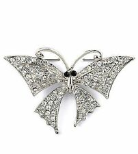 Clear crystal butterfly brooch pin PIN010099