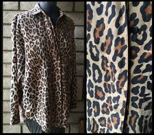 100% Silk Cheetah Leopard Print Swag Button Down Long Sleeve Blouse Shirt Medium