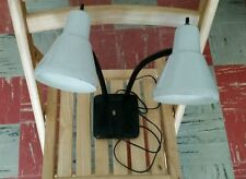 Vintage Industrial Double Necked Metal Desk Lamp, Tested Works, Steampunk