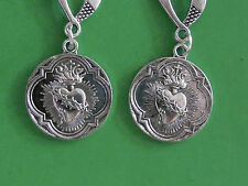 "GOTH STYLE ANTIQUED SILVER PLATED 2.25"" SACRED HEART EARRINGS  w/.925 HOOKS"