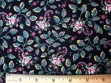 New Springs Delicate Mini Roses with Paisley Accents Print Black Cotton Fabric