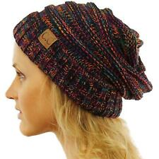 Unisex Oversized Chunky Soft Stretch Knit Slouchy Beanie Skully Hat Cap Blk Mult