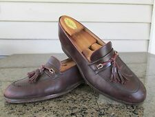 Bruno Magli 8.5 M TULIO Cherry Brown Tassel Loafers Mens Shoes Made Italy EUC