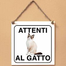 Snowshoe 1 Attenti al gatto Targa gatto cartello ceramic tiles
