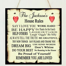 Beautiful Shabby Personalised Family House Rules Present Plaque Chic Gift Mum