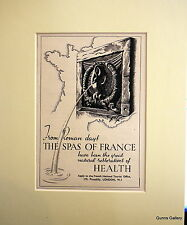 Original Vintage Advert mounted ready to frame Health Spas of France 1949