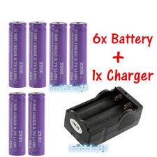 6pcs Rechargeable Battery 18650 35A 3.7V LI-MN 2500mAh + US Plug Charger B2