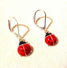 HOPE COLLECTION SILVER, RED & BLACK LADYBUG DANGLE EARRINGS LEVERBACK FASTENING