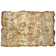 "Treasure Island PLASTIC PIRATE TREASURE MAP 12"" X 18""*Ship Wrecked*Treasure Hunt"