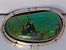 Substantial Sterling Silver With Massive Turquoise Belt Buckle 142 Grams