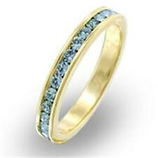 18K GOLD EP AQUAMARINE ETERNITY RING sz 5-10 you choose