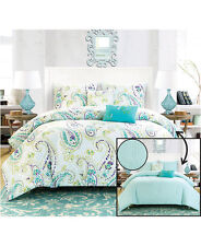 5 PC REVERSIBLE TURQUOISE BLUE PAISLEY FULL QUEEN COMFORTER PILLOWS SHAMS DECOR