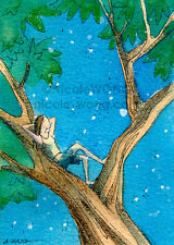 ACEO PRINT - Dreaming - art, painting, drawing, woman, tree, night, stars, dream