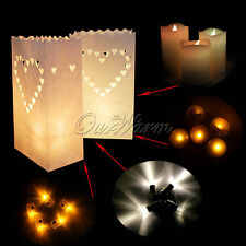 10 Heart Shape White Candle Paper Bag Lantern For  BBQ Party Wedding Decoration