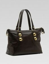 GUCCI Black Leather Studded Babouska Tote Authentic