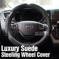 Luxury Suede Black Memory Form Cushion Steering Wheel Cover 375 For All Vehicle