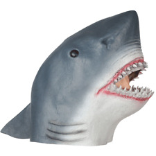 ADULT GRAY SHARK JAWS KILLER SHARK FISH MARINE ANIMAL COSTUME LATEX RUBBER MASK