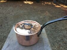 """Dehillerin 3.1mm French 5.75"""" Mauviel Copper W/Tin Sauce Pan W/ Stainless Lid"""