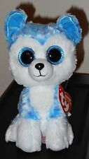 "Ty Beanie Boos - SKYLAR the 6"" Blue Husky Dog~ Justice Exclusive ~ NEW ~IN HAND"