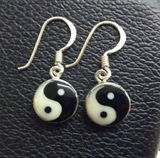 Ying Yang in Sterling Silver 925 Drop Dangle Earrings Handcrafted India LARGE