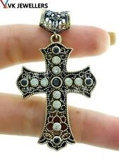 925 STERLING SILVER CROSS TURKISH HANDMADE JEWELRY ONYX TOPAZ PENDANT P3173