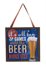 """KURT S ADLER """"IT'S ALL FUN & GAMES UNTIL THE BEER RUNS OUT"""" PLAQUE XMAS ORNAMENT"""