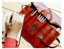 Multifunktionell Kosmetikum Tasche Make Up Pinsel Tasche Stift Beutel aus Leder