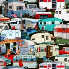 Vintage Trailers Campers Packed Camping Cotton Fabric Fat Quarter