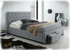 Kiefer Grey Fabric Upholstered QUEEN Size Bed with 4 Storage Drawers - BRAND NEW