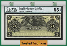 TT PK S163r1 1899 COSTA RICA 5 PESOS REMAINDER PMG 65 EPQ GEM UNCIRCULATED!