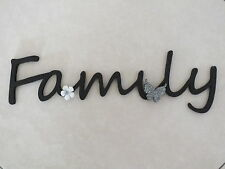 """Wooden """"Family"""" Plaque Words/Letters Home/Door/Wall Decoration Art/Craft"""