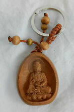 Wooden Keyring / Key Ring with Contemplative Buddha - Quality Item - BNIB