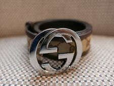 GUCCI Monogram GG Brown Taupe Leather Belt 80/ 32