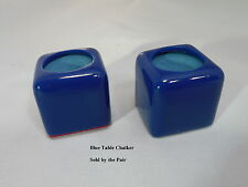 ( 2 ) Billiard Pool Table Cue Chalk Holder Blue W/ Master's Chalk Chalker