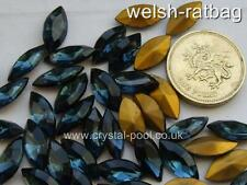 12 x Czech 15mm x 7mm Montana gold-foiled navettes