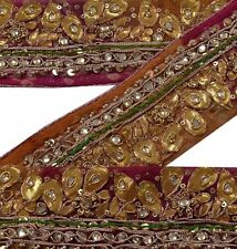 Vintage Sari Border Antique Hand Beaded 1 YD Indian Trim Sewing Gota Work Lace