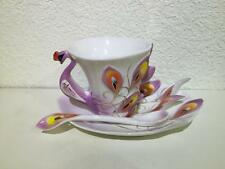 Peacock Coffee Tea Mug Cup Porcelain Ceramic Cup (PurPle)