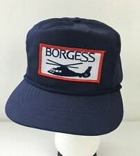 Borgess Helicopter Aviation Strapback Hat Blue One Size Cap Patch Logo