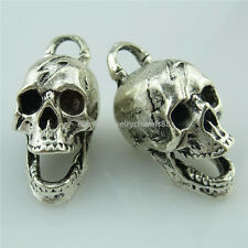 13980 5PCS Antique Silver Ghost Skull Skeleton Pendant Charms Jewelry Making
