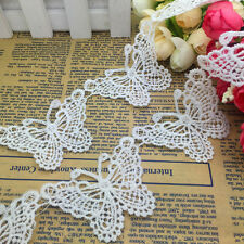 NEW 1Yards 75mm White Butterfly-Shape Embroidered Sewing Applique Lace Trim NS04