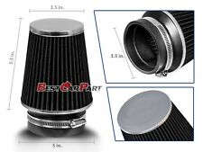 "BLACK 3.5"" 89mm Inlet Narrow Air Intake Cone Replacement Quality Dry Air Filter"