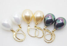 wholesale 3 color 12X16MM White Yellow black Shell Pearl Drop Earrings AAA+++